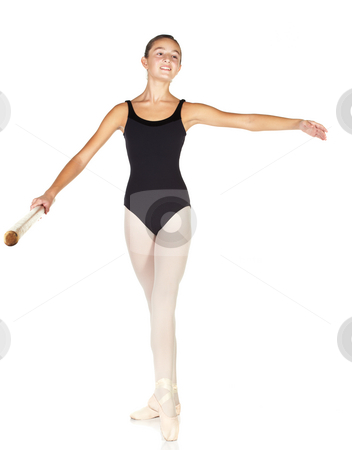 Ballet Steps stock photo, Young caucasian ballerina girl on white background and reflective white floor showing various ballet steps and positions. Battement tendu devant. Not Isolated. by Sean Nel