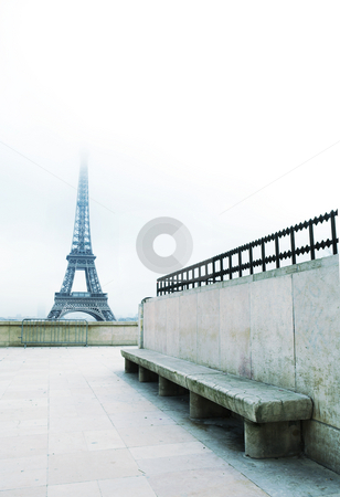 Paris #55 stock photo, The Eiffel Tower in Paris, France.  Blue pastel.  Copy space. by Sean Nel