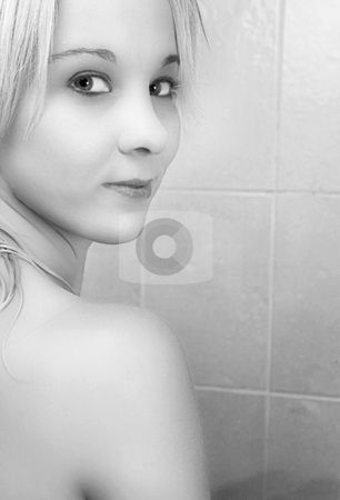 Woman #21 stock photo, Nude woman in a bath.  Black and white.  Copy space. by Sean Nel