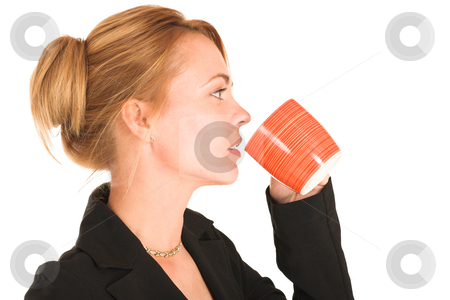 Businesswoman #248 stock photo, Blonde business lady in formal black suit. Drinking out of a mug by Sean Nel