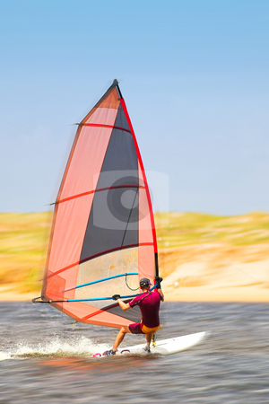 Windsurfer #33 stock photo, Fast moving windsurfer on the water at Keurbooms Lagoon, South Africa  by Sean Nel