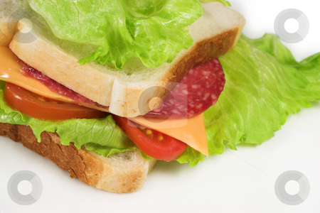 Food #25 stock photo, A salami, cheese, tomato and lettuce sandwich on a white plate by Sean Nel