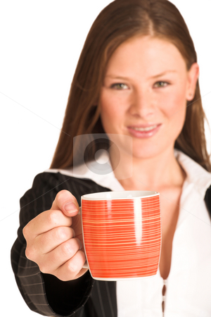 Business Woman #200(GS) stock photo, Business woman dressed in a pinstripe suit, holding a mug.  Shallow DOF - mug in focus, face out of focus by Sean Nel