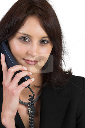 Business Lady #67 stock photo, Business woman with blue telephone by Sean Nel