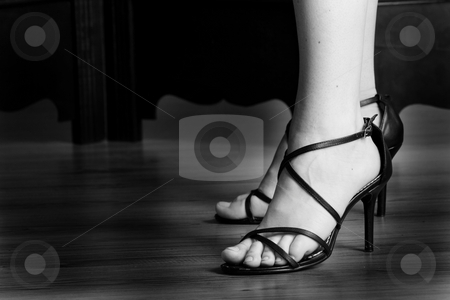 Shoes #13 stock photo, Black sandals - High key BW by Sean Nel