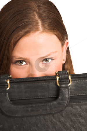 Business Woman #204(GS) stock photo, Business woman looking over a leather suitcase by Sean Nel