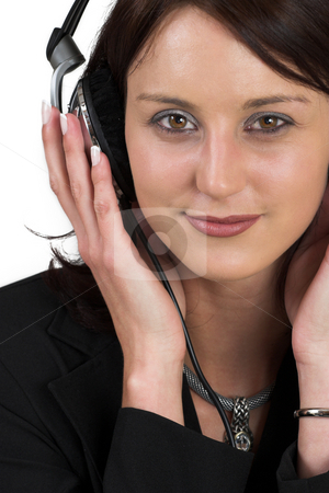 Luzaan Roodt #12 stock photo, woman in formal black suit with headset on head by Sean Nel