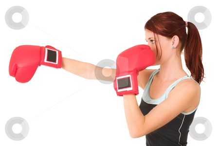 Gym #63 stock photo, Woman boxing. by Sean Nel