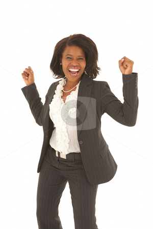 Beautiful African businesswoman stock photo, Portrait of a beautiful young African businesswoman looking excited on white background. NOT ISOLATED by Sean Nel