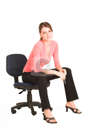 Business Woman #405 stock photo, Brunette business woman in  an informal light pink shirt.  Sitting on an office chair. by Sean Nel