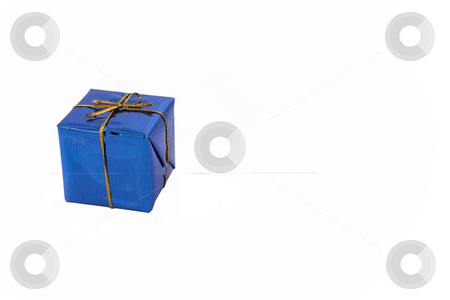 Single Blue Gift #2 stock photo, Gift with golden ribbon - copy space by Sean Nel