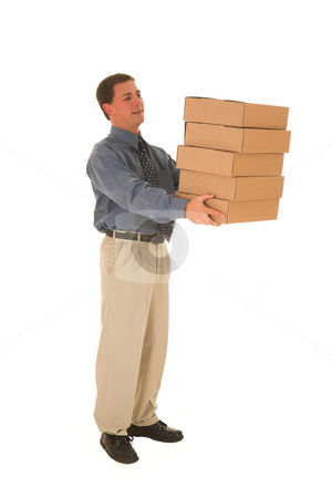 Businessman #96 stock photo, Man carrying boxes. by Sean Nel