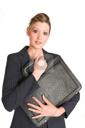 Business Woman #13 stock photo, Business woman holding leather suitcase by Sean Nel