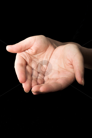 Hands #17 stock photo, Hands in front of black background by Sean Nel