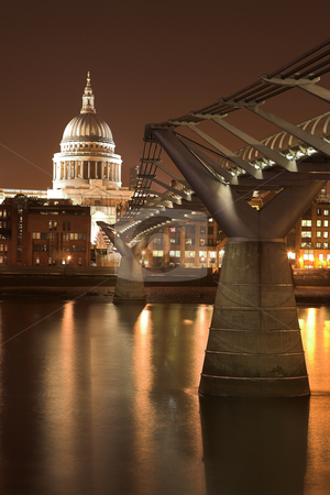 Millenium Bridge #1 stock photo, St Paul's Cathedral, accross the River Thames, next to the Millenium Brifge by Sean Nel