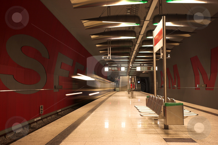 Munich #39 stock photo, Moving train in a underground train station by Sean Nel