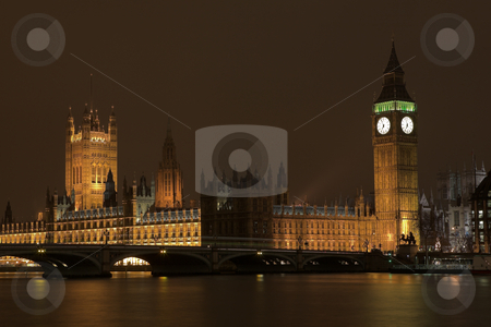 Big Ben #3 stock photo, Big Ben at night across the Thames river by Sean Nel