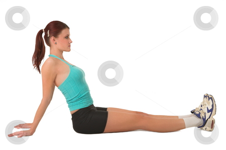 Gym #128 stock photo, Woman in gym wear sitting relaxed on floor. by Sean Nel