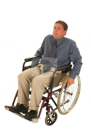Businessman #126 stock photo, Man sitting in wheelchair. by Sean Nel
