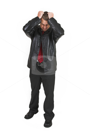 Tollie Booysen #7 stock photo, Businessman in black leather jacket, white shirt and red tie. Holding his head - eyes closed. by Sean Nel