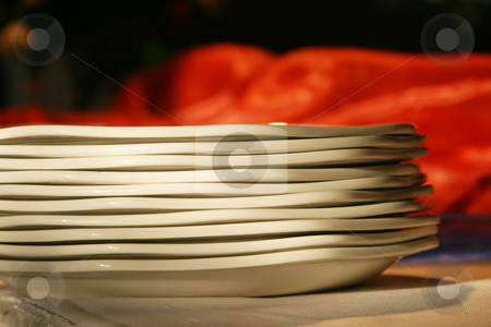 More plates stock photo, Plates stacked on a table by Sean Nel