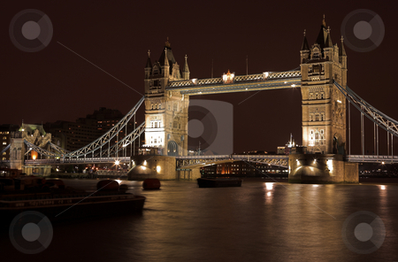 Tower Bridge #4 stock photo, The bascule Tower bridge in London, Night Scene over the Thames by Sean Nel