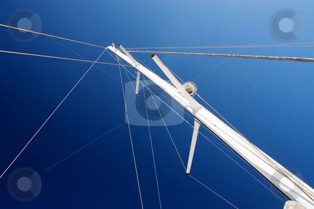Yacht #3 stock photo, White Yacht sail and radio mast with rolled sails by Sean Nel