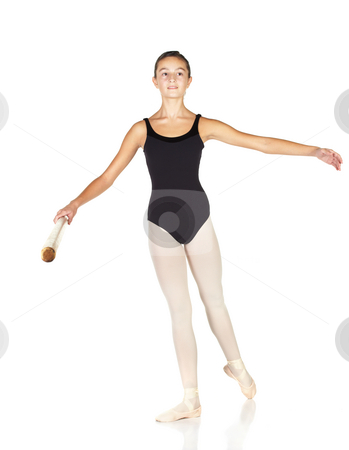 Ballet Steps stock photo, Young caucasian ballerina girl on white background and reflective white floor showing various ballet steps and positions. Rond de Jambe. Not Isolated. by Sean Nel