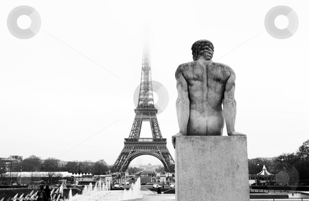 Paris #53 stock photo, A statue in the foreground with the Eiffel Tower in Paris, France.Black and white. Copy space. by Sean Nel
