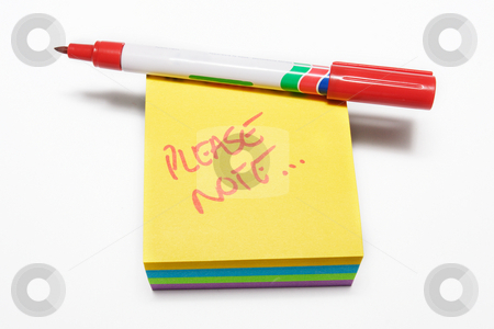 Notepad #6 stock photo, Red fiber tipped pen and sticky pad note by Sean Nel
