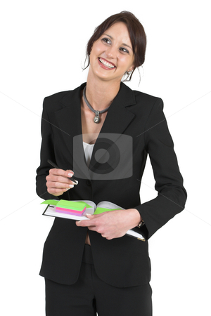 Businesslady #79 stock photo, Dark haired business woman with post-it notes by Sean Nel