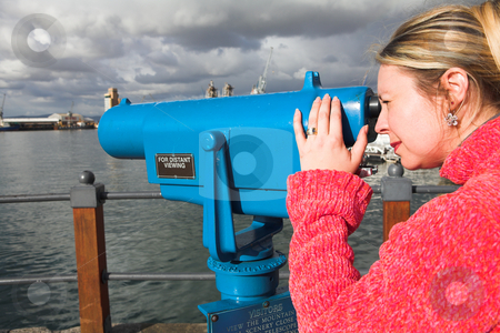 Tourist using telescope stock photo, Coin operated view finder or telescope at the Cape Town Waterfront and port area by Sean Nel
