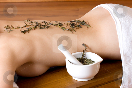Massage #12 stock photo, Lavender twigs on clean naked back by Sean Nel