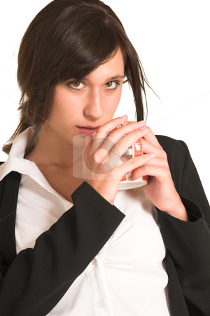 Business Woman #281 stock photo, Business woman dressed in a pencil skirt and jacket.  Drinking out of a mug. by Sean Nel