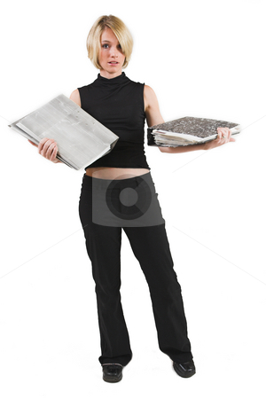 Businesswoman #45 stock photo, Business woman in black outfit with files - Worried by Sean Nel