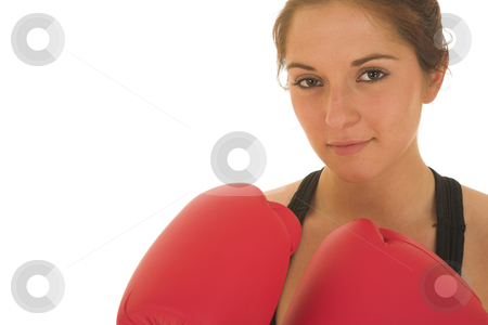 Boxer #06 stock photo, Brunette with red boxing gloves by Sean Nel