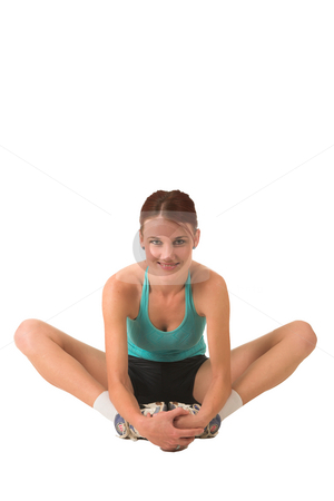 Gym #175 stock photo, Woman in gym wear with her feet together, bending forward and smiling. by Sean Nel