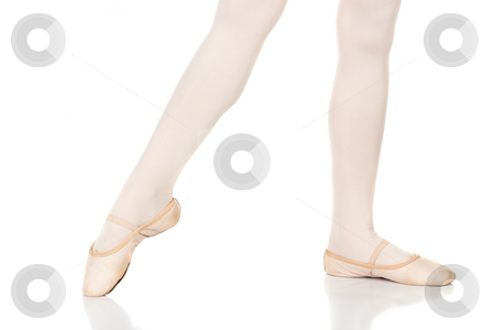 Ballet Feet Positions stock photo, Young female ballet dancer showing various classic ballet feet positions on a white background - Point a la 2nd. NOT ISOLATED by Sean Nel