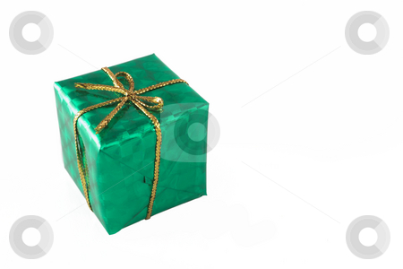 Green Gift #5 stock photo, Blue green wrapped gifts with golden ribbon - copy space by Sean Nel