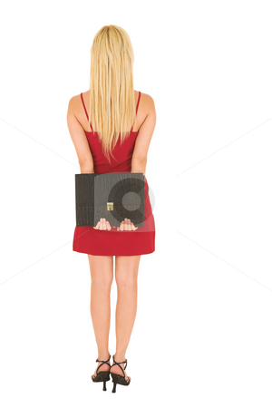 Business Woman in red #122 stock photo, Blond business woman with black leather file in red dress by Sean Nel