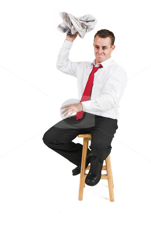 Business man #23 stock photo, Business man in a suit crumpling a newspaper by Sean Nel