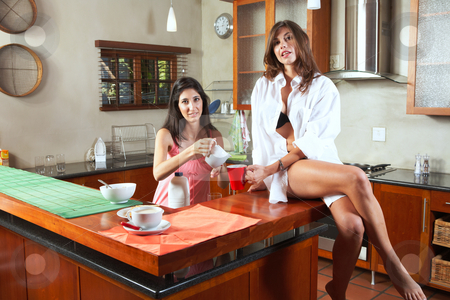 Sexy brunette roommates stock photo, Sexy young adult brunette roommates in lingerie eating breakfast and drinking coffee in their kitchen before work. Girl sitting on counter by Sean Nel