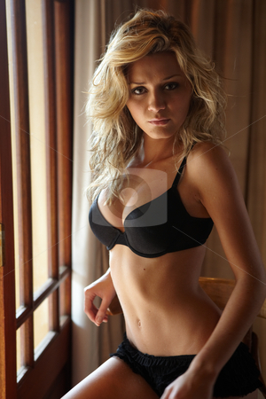 Woman in Lingerie stock photo, Young sexy Caucasian adult woman in lingerie in a bedroom setting. next to a window on a high chair with sunlight shining through the windows by Sean Nel
