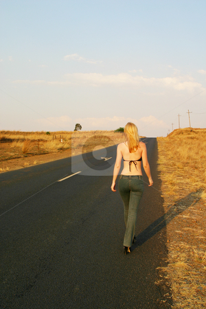 Roads #7 stock photo, Blonde girl walking next to the road by Sean Nel