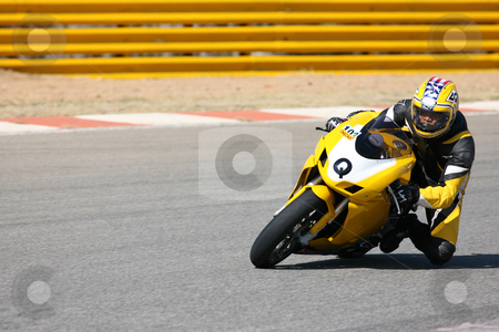 Superbike #2 stock photo, High speed Superbike on the circuit  by Sean Nel