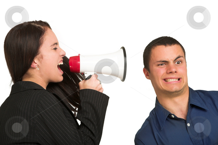 People Woman #46 stock photo, A brunette woman  yelling at her male business partner over a microphone. by Sean Nel