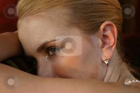 Model stock photo, Model lying on her arms by Sean Nel