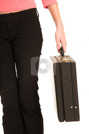 Business Woman #428 stock photo, Legs and hands of business woman in  an informal light pink shirt and black pants, holding a leather suitcase. by Sean Nel