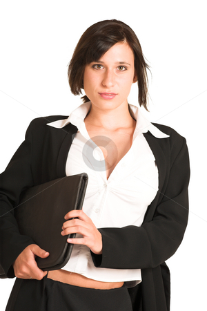 Business Woman #276 stock photo, Business woman dressed in a pencil skirt and jacket.  Holding a file. by Sean Nel