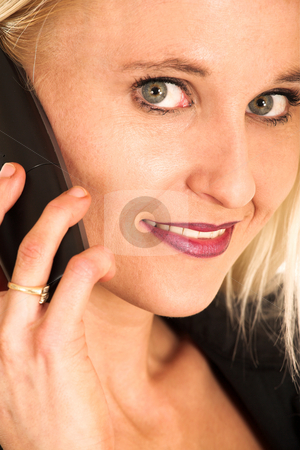 Business Woman #366 stock photo, Blond business woman talking on phone.  Close-up by Sean Nel